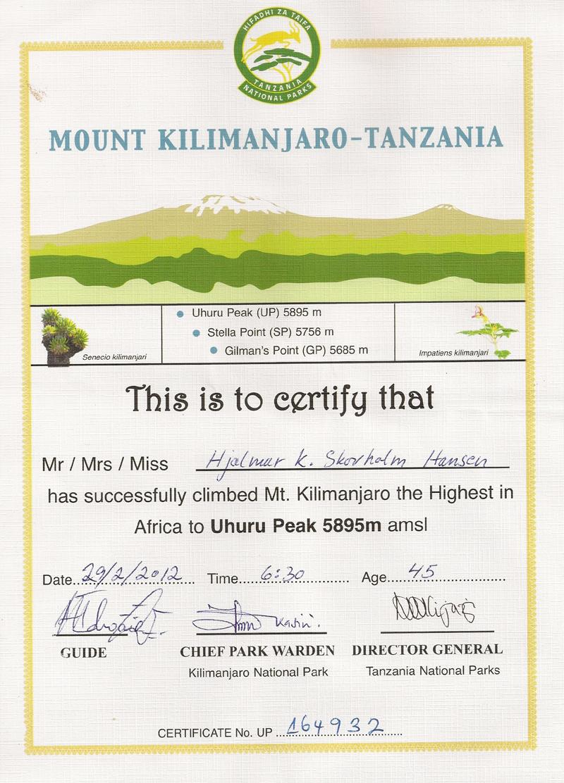 Kilimanjaro diplom